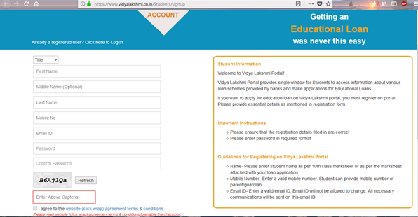 Vidhya Laxmi Yojana Online Loan For Students in India